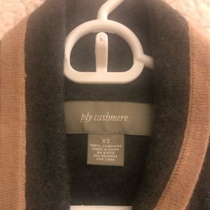 ply cashmere Sweaters - Ply Cashmere Cardigan in Gray with Tan Trim
